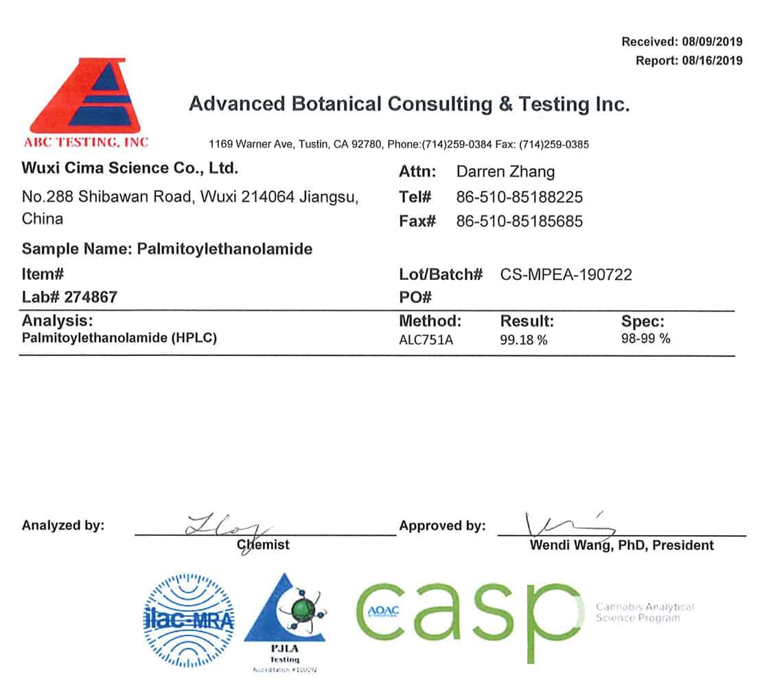 Palmitoylethanolamide purity testing