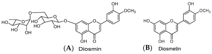 Chemical structure of diosmin and diosmetin