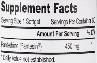 pantethine supplements with 450mg dosage