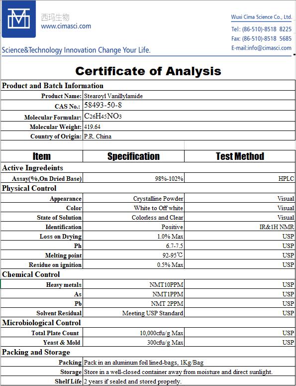 specification sheet of Stearoyl Vanillylamide