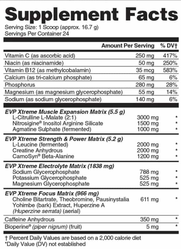 EVP Xtreme Evogen supplement facts