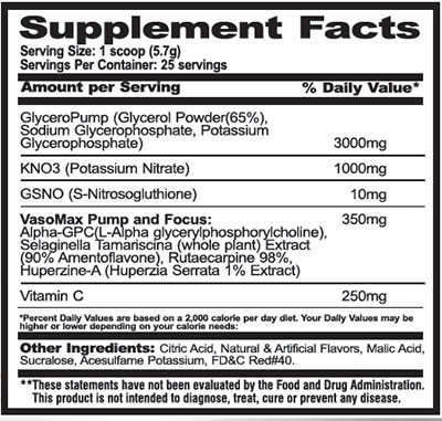 supplement facts of VasoMax from Performax Labs