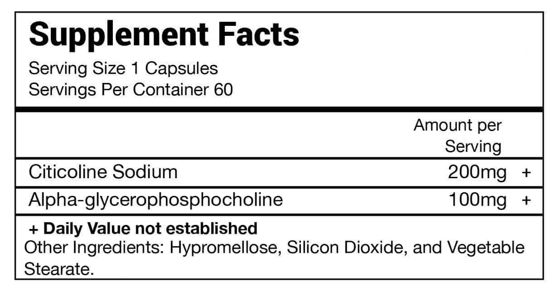CDP choline supplement formula fact