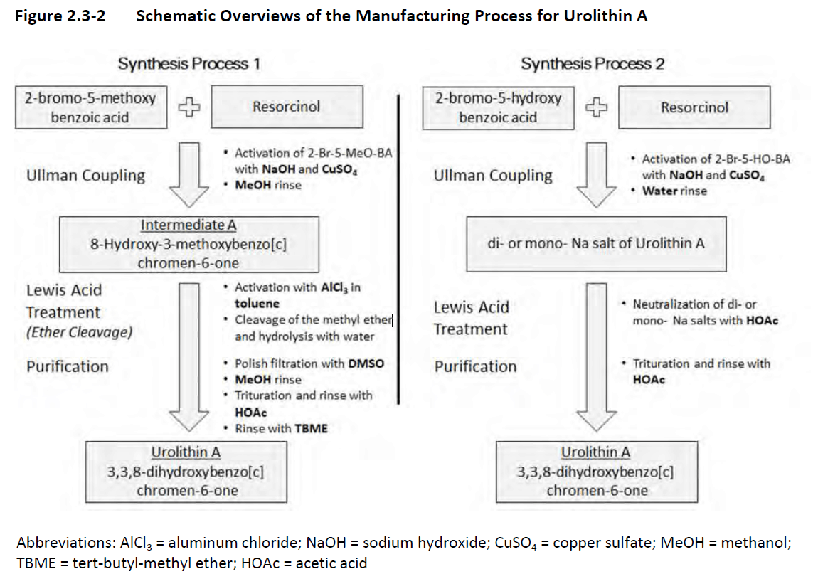 Schematic Overviews of the Manufacturing Process for Urolithin A